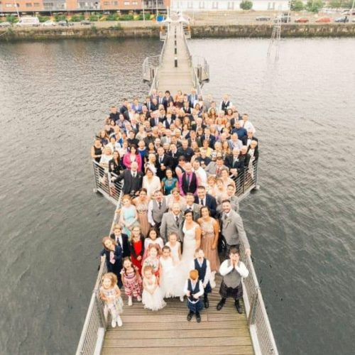 Wedding photo outside The Quay.
