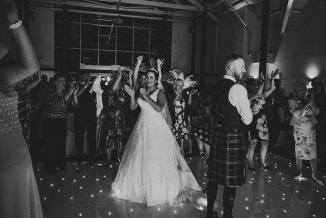 Black and white wedding dance.